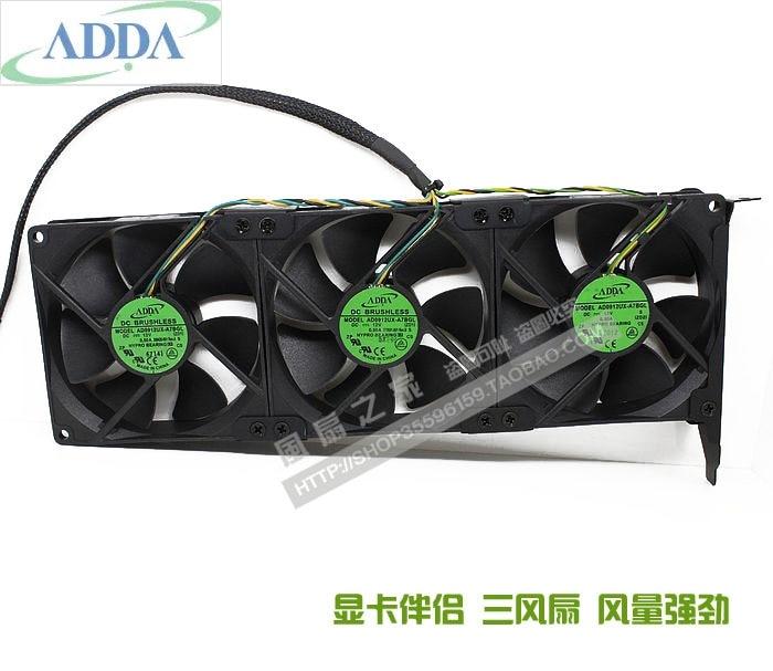 Tres ventiladores como mucho ADDA AD0912UX-A7BGL12V 0.50A tarjeta gráfica compañero de refrigeración PCI ranura ventilador