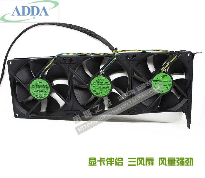 three fans As a lot ADDA AD0912UX-A7BGL12V 0.50A Graphics card cooling companion PCI slot fan computador cooling fan replacement for msi twin frozr ii r7770 hd 7770 n460 n560 gtx graphics video card fans pld08010s12hh