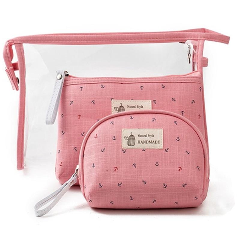 3pcs/set Cosmetic Bags Waterproof Neceser Portable Make Up Bag Women PVC Pouch Travel Organizer Toiletry Blosa Clear Makeup Bag