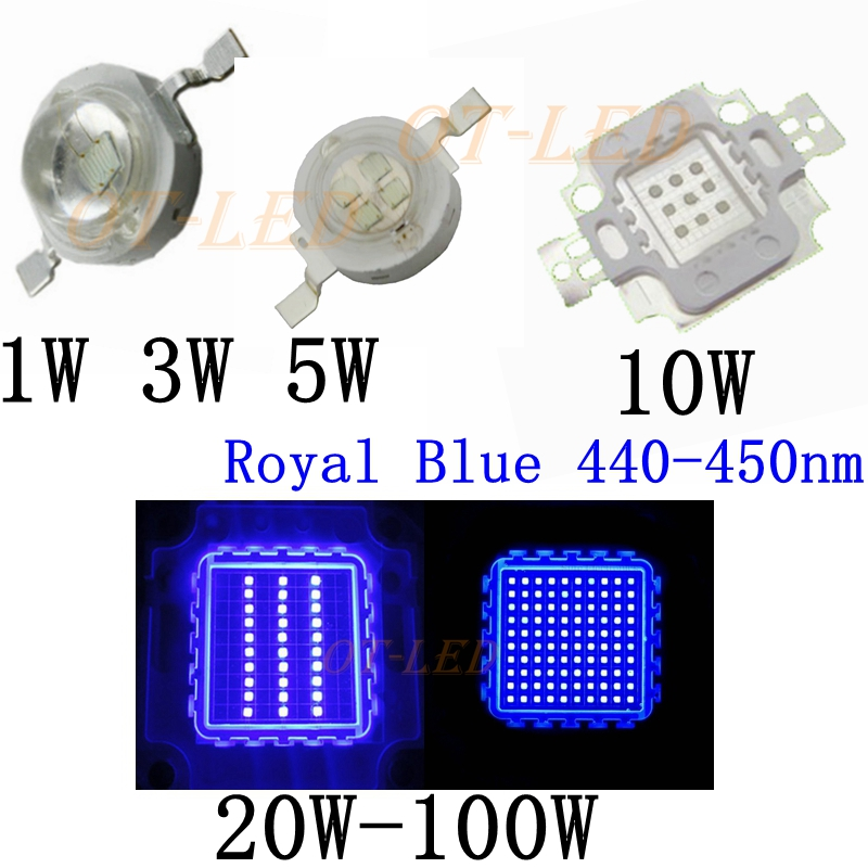 High Power Royal Blue LED Grow Chip 440nm 450nm 1W 3W 5W 10W 20W 30W 50W 100W COB LED Emitter Bulb For DIY LED Plant Grow Light