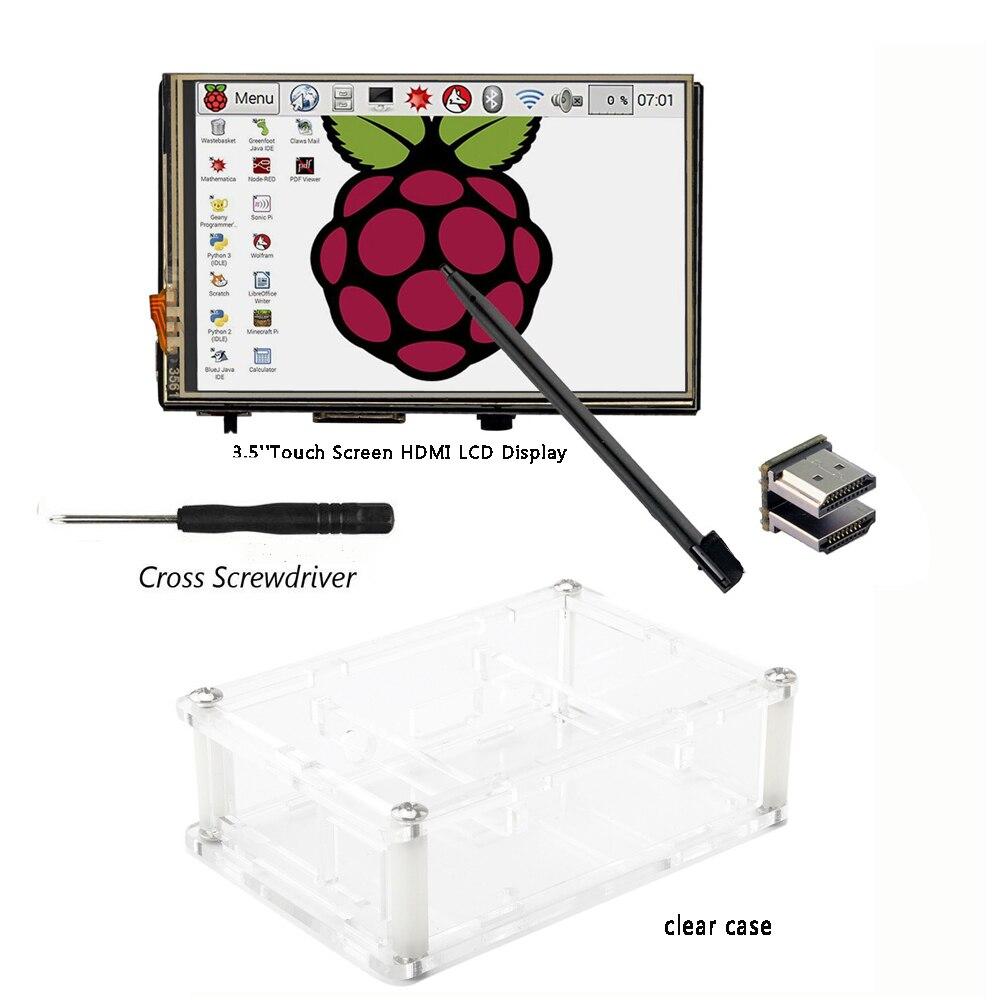 3,5 дюймов HDMI LCD TFT сенсоный экран дисплей с акриловым прозрачным корпусом для Raspberry pi 2 и Pi 3 Модель B-in Доски для показов from Компьютер и офис