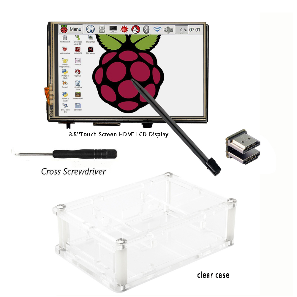 3.5 inch HDMI LCD TFT Touchscreen Display with Acrylic transparent Case for Raspberry pi 2 and Pi 3 Model B 3 in 1 rev 3 0 512m arm raspberry pi project board model b and 2 heatsink and 1 acrylic case