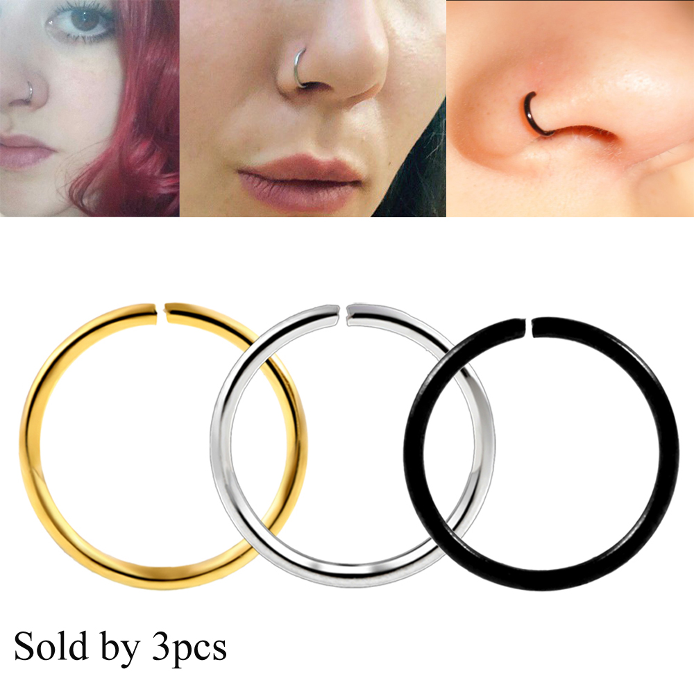 3pcs Stainless Steel Titanium Anodized Nose Clicker Hoop Rings Navel Lip Nipple EarTragus Cartilage Ring Body Jewelry