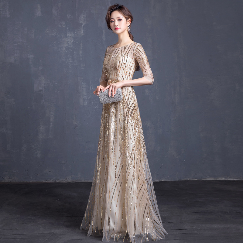 Gorgeous Long Prom Dresses 2019 Blink Champage Sequined Formal Dress Women Occasion Shiny Party Gown Robe De Soiree Half Sleeves