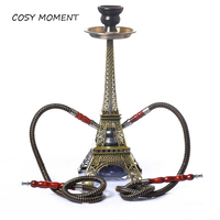COSY MOMENT Paris Tower Shisha Glass Base Metal Hookah Set with Double Hoses Ceramic Bowl Charcoal Tongs Chicha Narguile YJ413