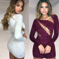 New Arrival Fashion Women Suede Dress Grey Wine Red 2018 Sexy Lace Up Hollow Out Long