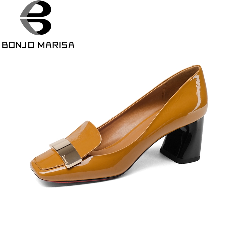BONJOMARISA Brand New Genuine Leather Square Toe Square High Heels slip-on Shoes Woman Fashion Spring Pumps Big Size 33-43