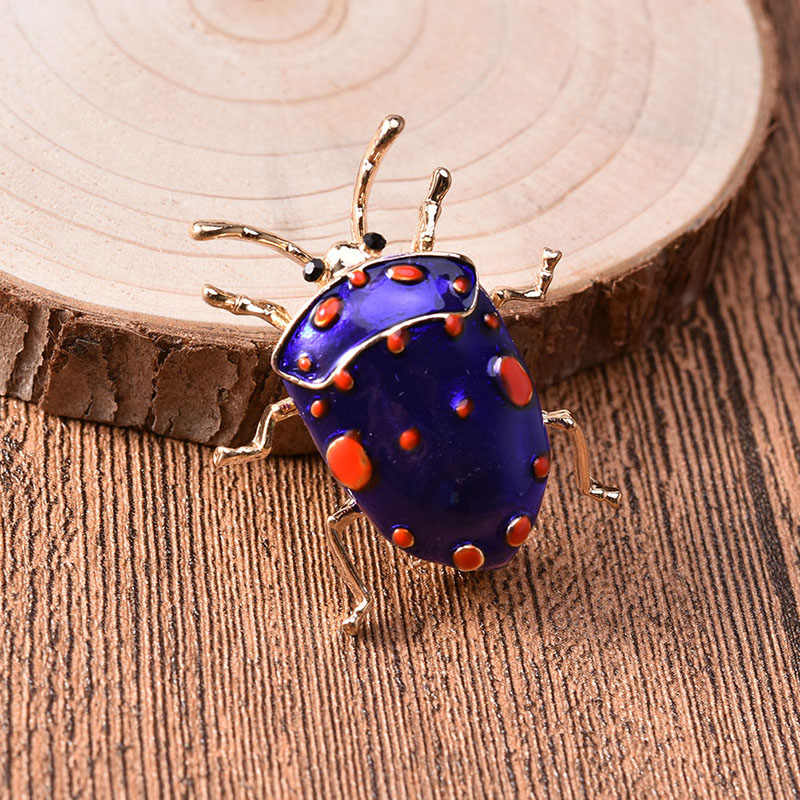 Enamel Pin Beetle Bros untuk Wanita Fashion Lucu Bug Serangga Hewan Bros Warna Biru Baru 2018 Perhiasan Hadiah