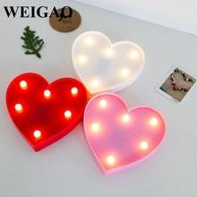 Фотография WEIGAO 1Pcs Sweet LED Love Heart Night Light Kids Bedroom Lamp Decor Birthday Party Gifts Wedding Decorations Party Supplies