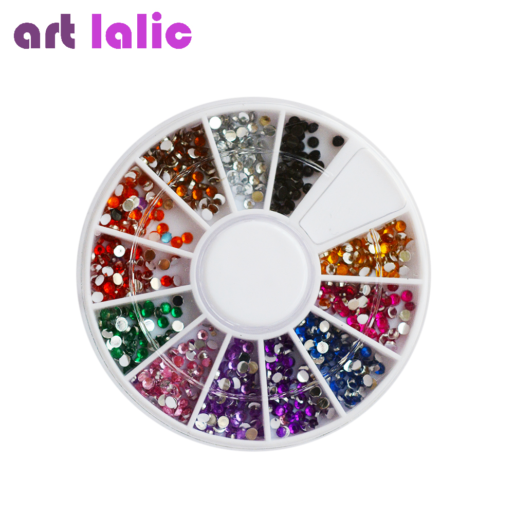 Random color nail rhinestones wheel 2mm acrylic nail art for Acrylic nail decoration