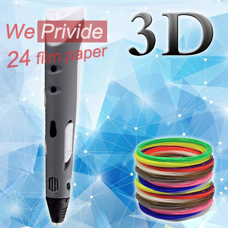 Prix pour Creative Stylo 1.75mm ABS/PLA DIY Smart 3D Impression 3D Pen stylo + Coloré Filament + Adaptateur Cadeau Pour Enfants Conception Peinture dessin