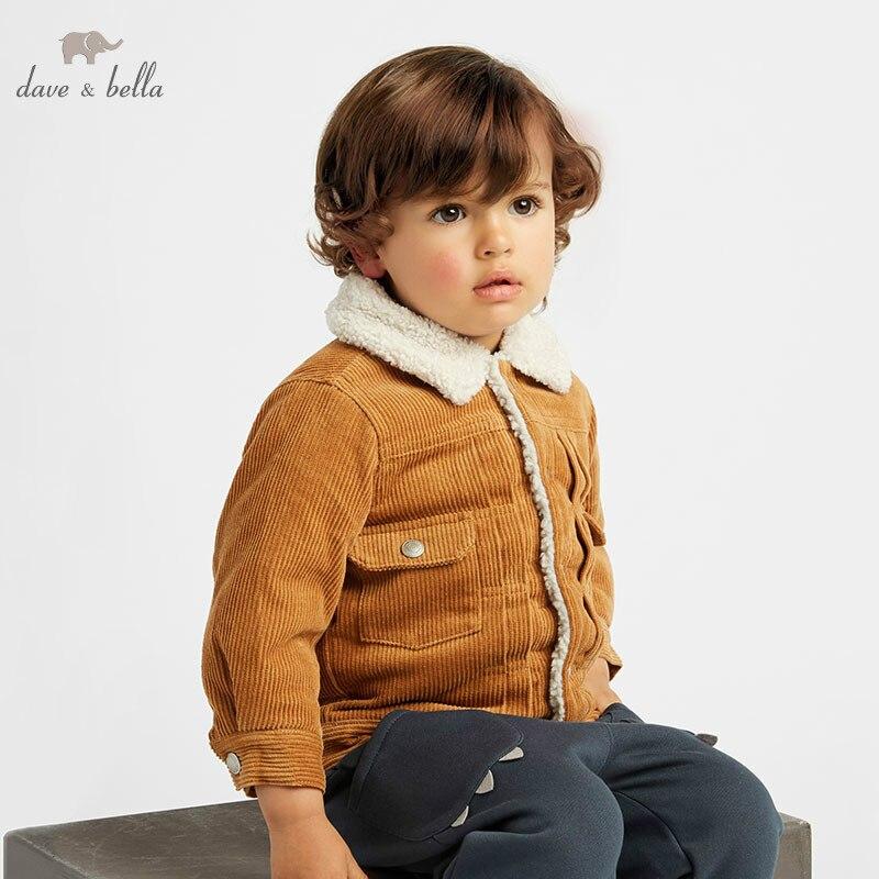 DB5942-A dave bella autumn winter baby boys handsome jacket children fashion outerwear brown kids coat