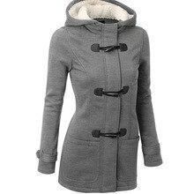 Женская Базовая куртка, пальто, женские парки, длинное пальто с капюшоном, парки, пальто на молнии, верхняя одежда с роговыми пуговицами, casaco feminino 50