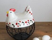 Ceramic iron kitchen Basket Hen Egg basket Garlic Ginger basket Chicken basket and iron decoration