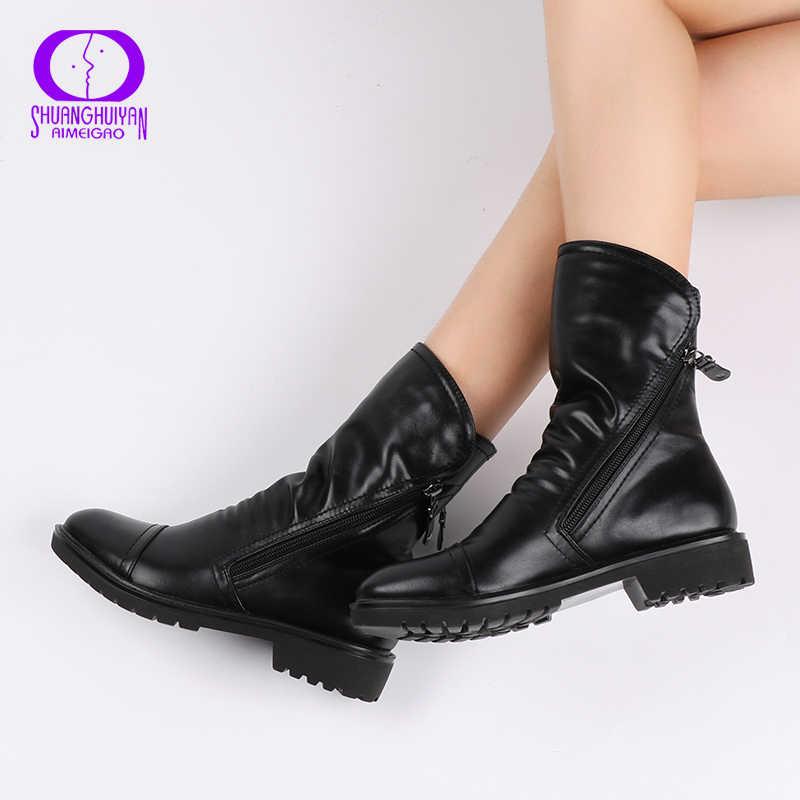 AIMEIGAO 2017 Vrouwen Fashion Vintage Enkellaarsjes Zacht Lederen Schoenen Vrouwelijke Lente Herfst Enkellaarsjes Comfortabele Vrouwen Schoenen