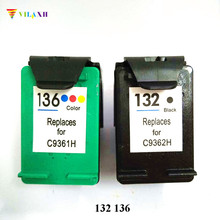 Vilaxh 132 136 Compatible Ink Cartridge Replacement for HP Photosmart C3100 C3183 1513 Officejet 6213 5443 Printer