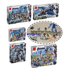 Nova Legoinglys 4 Super-heróis Vingadores Marvel Avengers 76123 76124 76125 76126 Fim Do Jogo Figuras Building Blocks Set Toy Bricks(China)