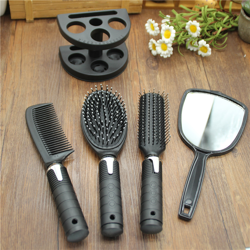 Hair Brush Massage Women Ladies Comb Mirror Set with Holder Set High Quality Black 5pcs set in Combs from Beauty Health