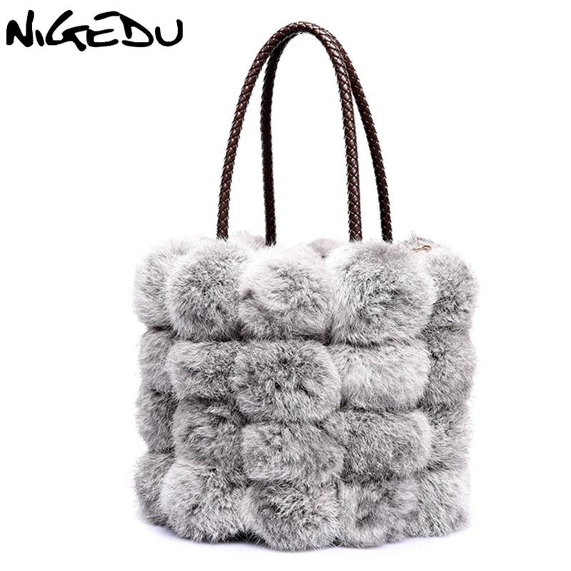 NIGEDU Brand luxury Fur women Handbags fashion ladies Shoulder messenger bags Female Totes winter new rabbit hair bucket bag