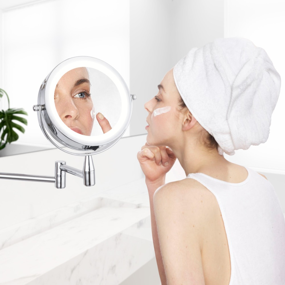 Bath Led Mirror 8 Inch 1X/3X 5X 7x Magnification Wall Mounted Adjustable Makeup Mirror Dual Arm Extend 2 Face Cosmetic Mirror-in Bath Mirrors from Home Improvement