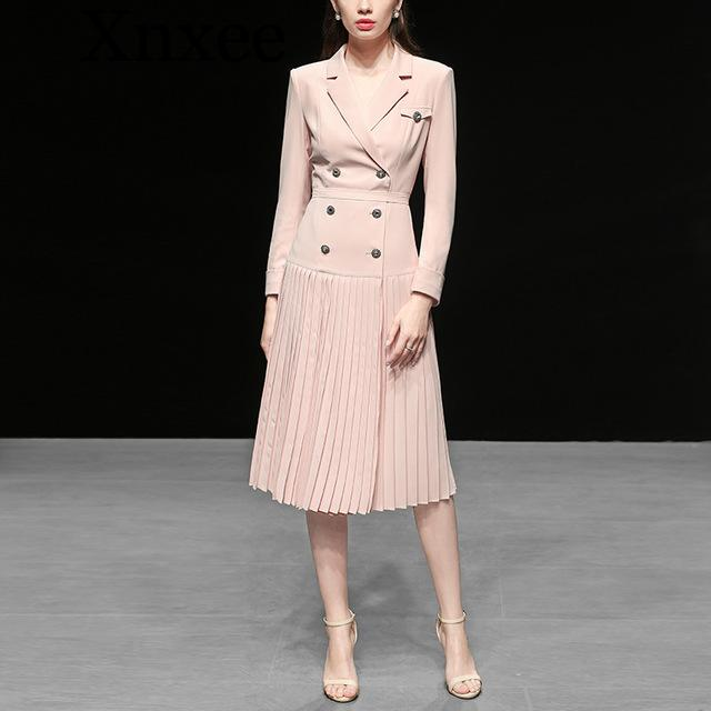 Xnxee Milan runway Pink double-breasted Pleated Long   trench   coats Stylish 2019 Fall winter Ladies Blazer overcoats