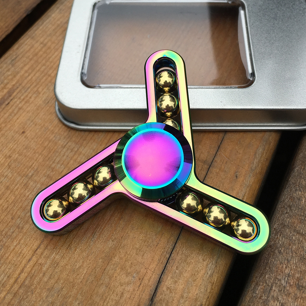 Rainbow Fidget Spinner 9 steel balls Metal Tri-Spinner EDC Hand Finger Spinner for Autism and ADHD Relief Stress Toys Kids Gift pudcoco metal boys girls rainbow fidget hand finger spinner focus edc bearing stress toys kids adults