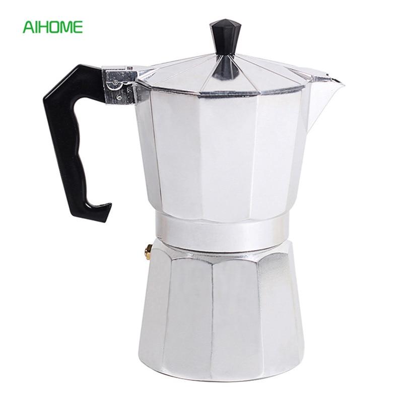 Casa de Alumínio Fogão-top Pote Moka máquina de Café Expresso Italiano Cafeteira Mocaccino Coador 50-600 ml
