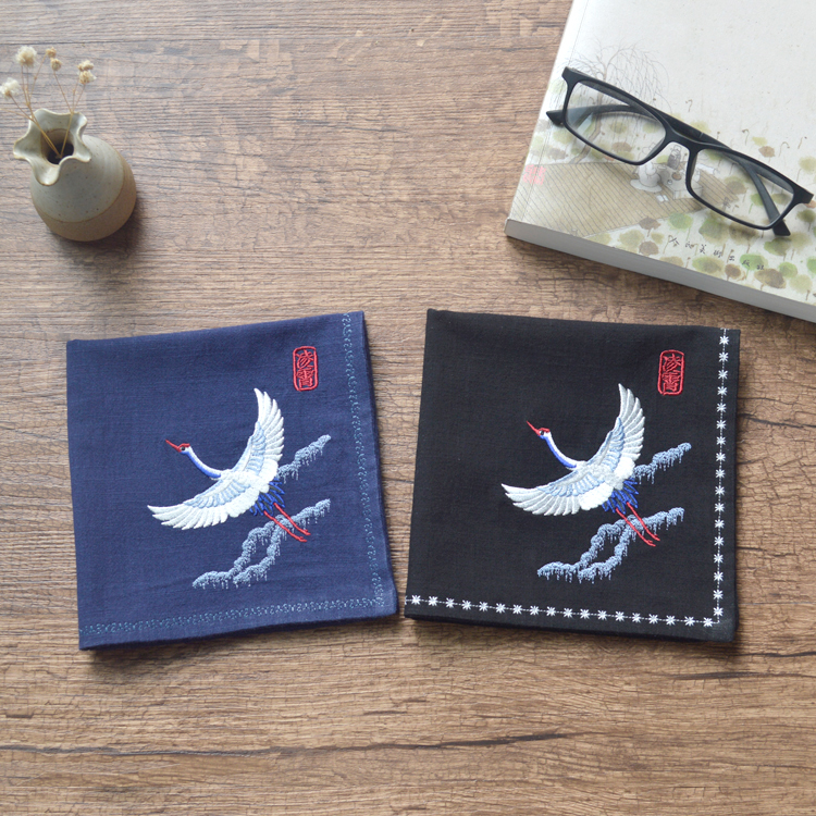 Men's Crane Crane Embroidered Flower Ancient Chinese Wind Embroidery Nostalgic Handkerchief Tea Towel Small Pocket Square