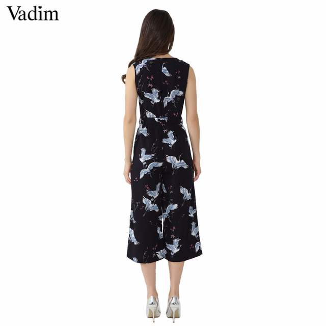04574112940 Online Shop Vadim women cute crane print jumpsuit sashes pockets sleeveless  pleated rompers ladies vintage casual jumpsuits KZ1016
