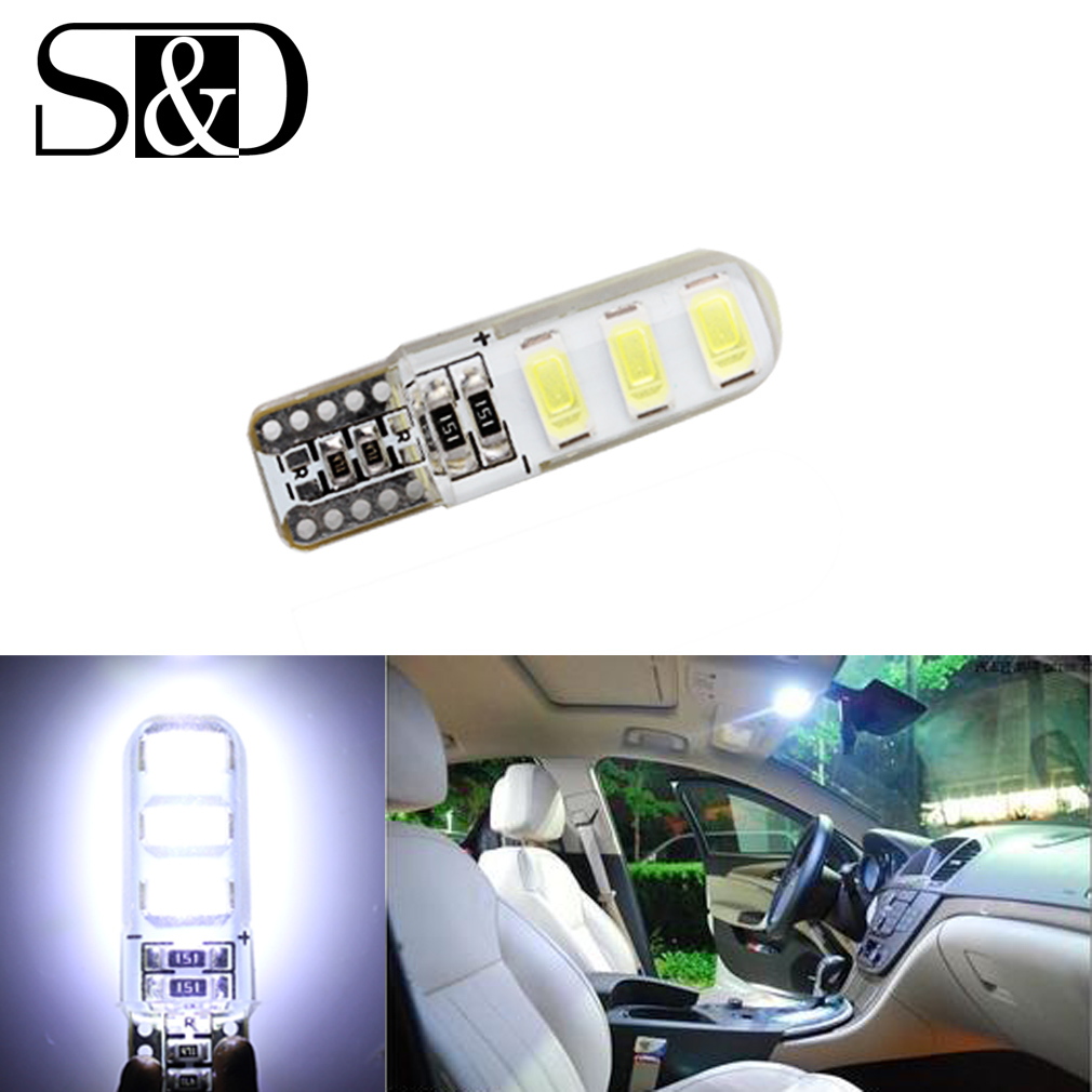 Auto T10 Pure White 194 168 W5W 6-SMD 5730 Silica Car LED Super Bright Turn Side License Plate Light Lamp Bulb DC12V 1pc new hid white canbus t10 w5w 5630 6 smd car auto led light bulb lamp 194 192 158 vehicle tail light lamp bulb super bright