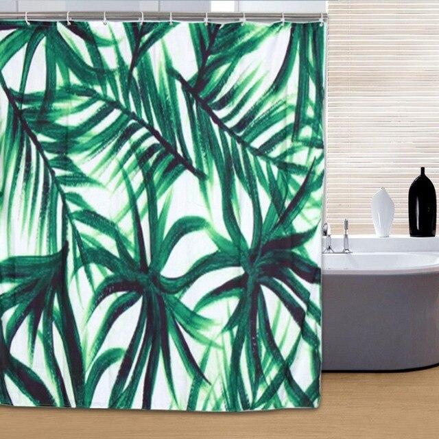 Modern Shower Curtain Waterproof Mildewproof Polyester Fabric Bath Bathroom Product Green Plants