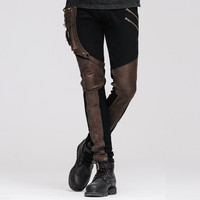 Steampunk Men High Waist Winter Long Pants Mens Pants Trousers Casual Slim Fit Black Brown Tights For Male