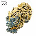 Women Gold and Turquoise Crystal Diamond Tiger Animal Evening Party Handbags Clutch Bridal Wedding Shoulder Bags Metal Clutches
