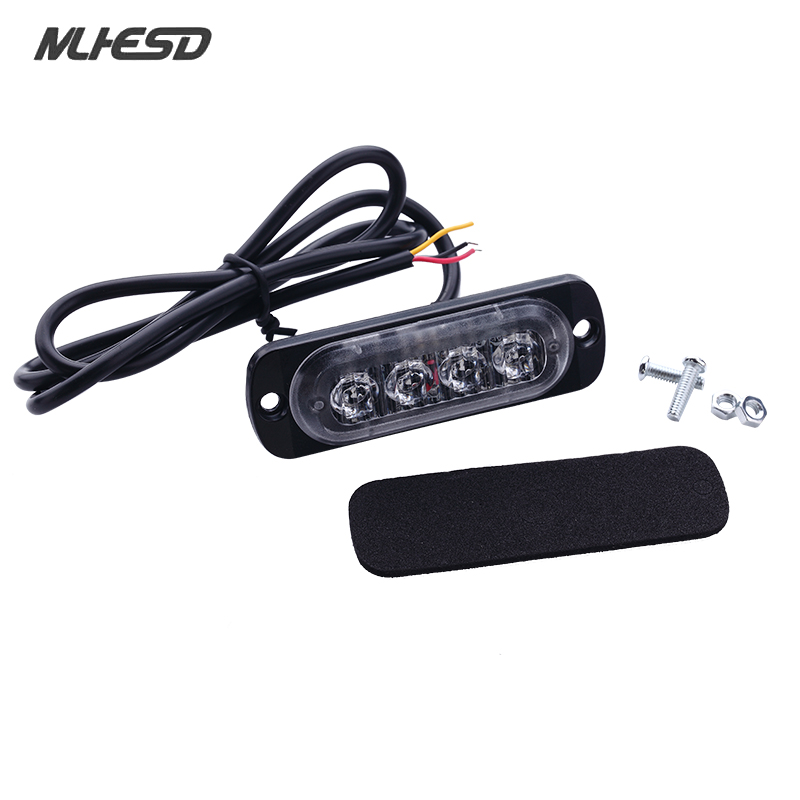 2pcs 4w LED Car external warning light surface mounting grill light ultra thin motorcycle Strobe truck Flashing Light waterproof