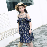 Girls Off Shoudler Chiffon Dresses Princess Party Cute Stars Clothes Teens Children clothes for Age56789 10 11 12 13 14Years Old