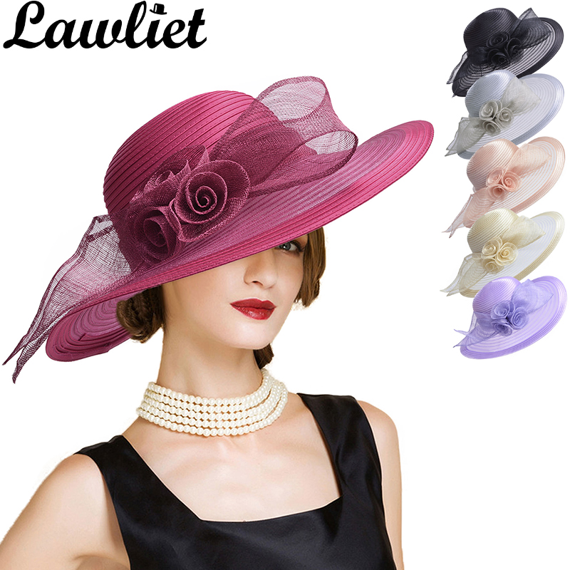 Women Fascinators Summer Hat Sinamay Floral Wide Brim Hats Ladies Sun Hat Kentucky Derby Party Dress Church Hat Floppy Beach Cap