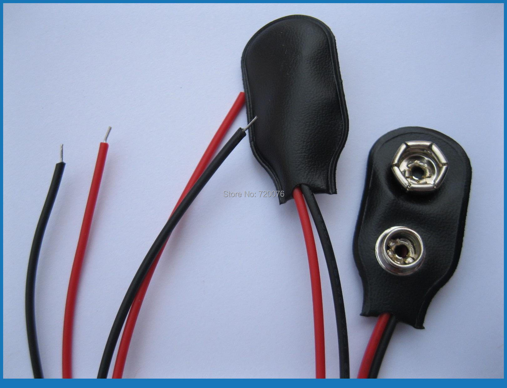 200 pcs 9 Volt 9V Battery Snap-on Clips I Type With 150mm Lead Wire 1000 pcs 9v 9 volt snap on battery clip connector 10cm
