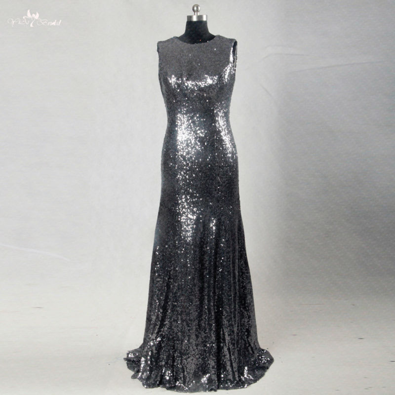 RSE185 Long Mermaid Dark Gray Silver Sequin   Bridesmaid     Dresses
