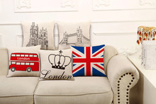 High Quality Pillow Covers Vintage Series England Fashion Style 45X45CM Linen Pillow CoverHome Decorative cushion case