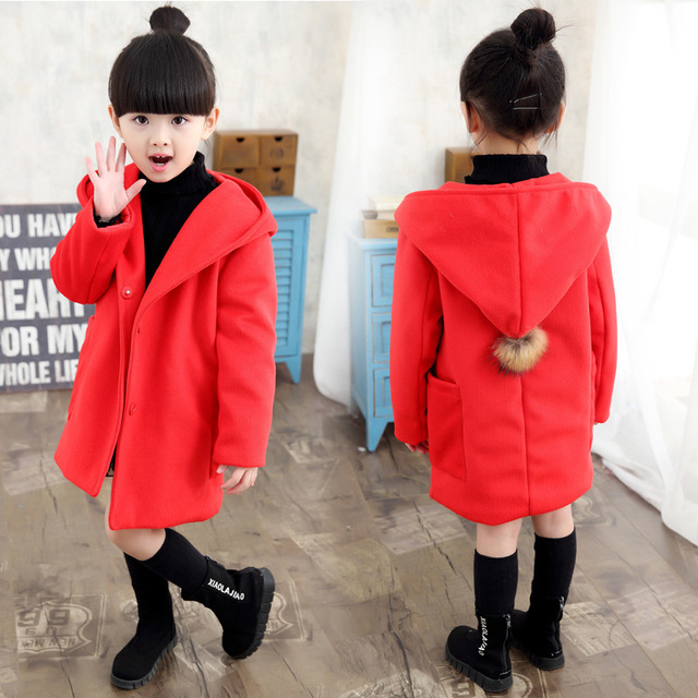 Female child outerwear autumn child 2016 wool woolen overcoat child spring and autumn little girl  In the long coat