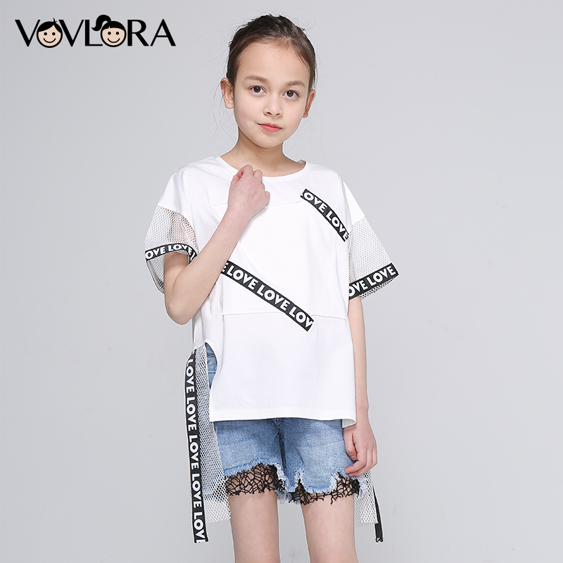Girls Short Sleeve T Shirts Patchwork Ribbon Cotton Kids Fashion T Shirt Asymmetric Solid Summer 2018 Size 9 10 11 12 13 14 Year girls school blazer v neck formal double breasted kids jacket long sleeve slim solid suit summer 2018 size 9 10 11 12 13 14 year