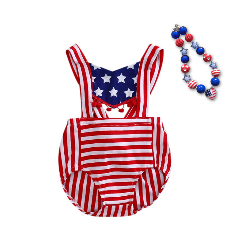 2018 Baby Girl 4th of july outfit summer Romper Pretty Romper newborn girl july 4th outfit set star print with matching necklace