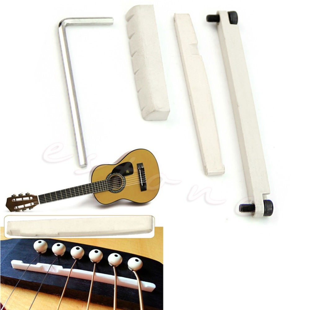 6 Strings POM Plastic Acoustic Guitar Bridge Nut & Adjustable Lifting Saddle New цены онлайн