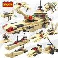 Cogo militar educativo bloques de construcción de juguetes para los niños regalos mini tanque de ejército arma barco del plano del helicóptero del barco del coche