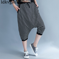 2018 Summer Large Size Women S Comfort Black White Stripes Baggy Pants Casual Trousers Drawstring Loose