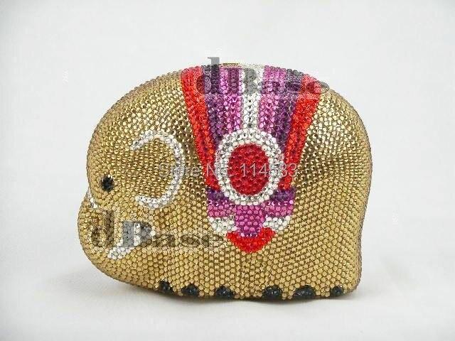 ФОТО ELEPHANT color-TA Crystal Animal Wedding Bridal Metal Evening purse clutch bag handbag case