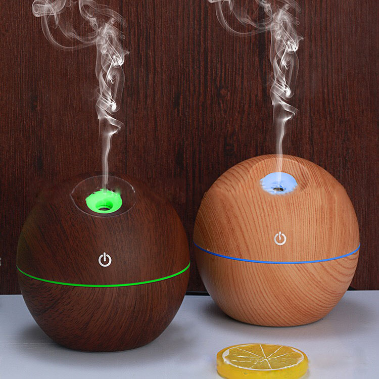купить 130ml electric Aroma Essential Oil Diffuser Ultrasonic Air Humidifier Wood Grain Cool Mist maker LED Night Light for home по цене 679.3 рублей