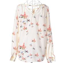 Yfashion Women Chiffon Blouse Lady Sexy Fashion Flying Pigeon Print Colorful V Neck Blouses Long Sleeve Shirt