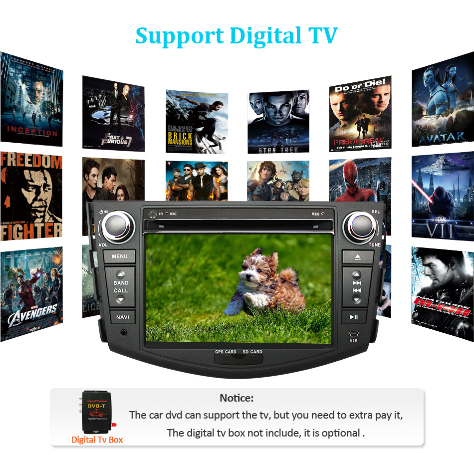 Perfect Eunavi Car DVD Player 2Din Car Radio For Toyota RAV4 2006 2007 2008 2009 2010 Steering Wheel control Touch screen GPS Navigation 13