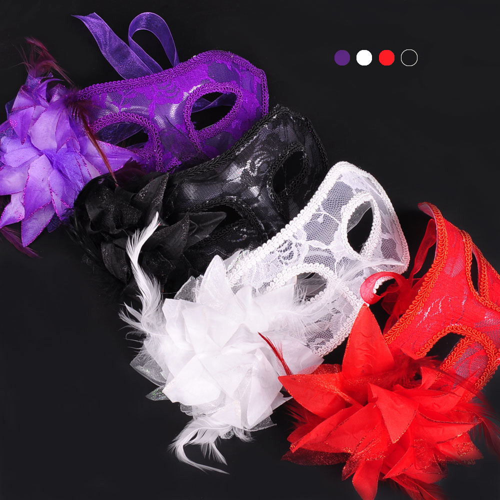 Masquerade Party Venice Dancing Mask Side Flower Sexy Lace Princess Mask Halloween Cosplay Performance Decoration Accessories-in Party Masks from Home & Garden    1